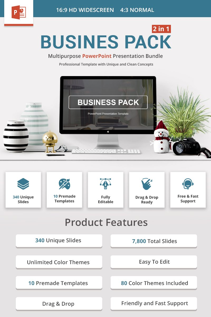 Premium Business Pack PowerPointmall #69412 - skärmbild