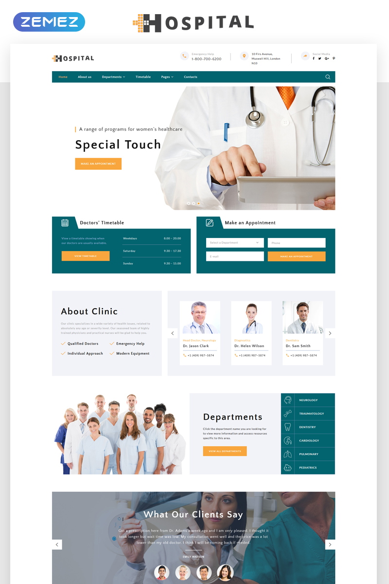 Responsivt Hospital - Medical Service Multipage HTML5 Hemsidemall #69485