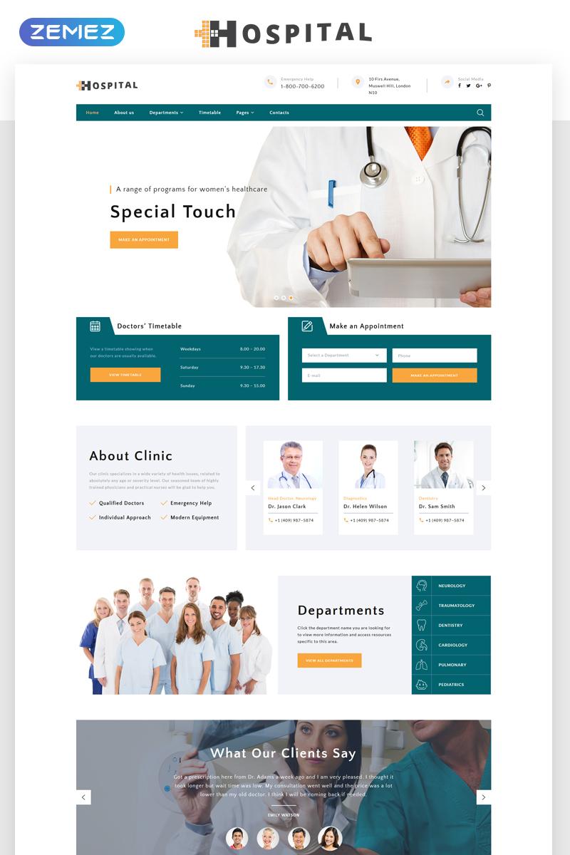 Reszponzív Hospital - Medical Service Multipage HTML5 Weboldal sablon 69485