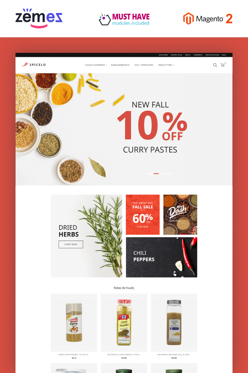 Spicelo - AMP Spice Shop Magento Theme - screenshot