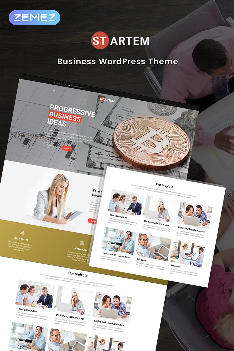"Template WordPress Responsive #69484 ""Startem - Cryptocurrency Business Pro Elementor"""
