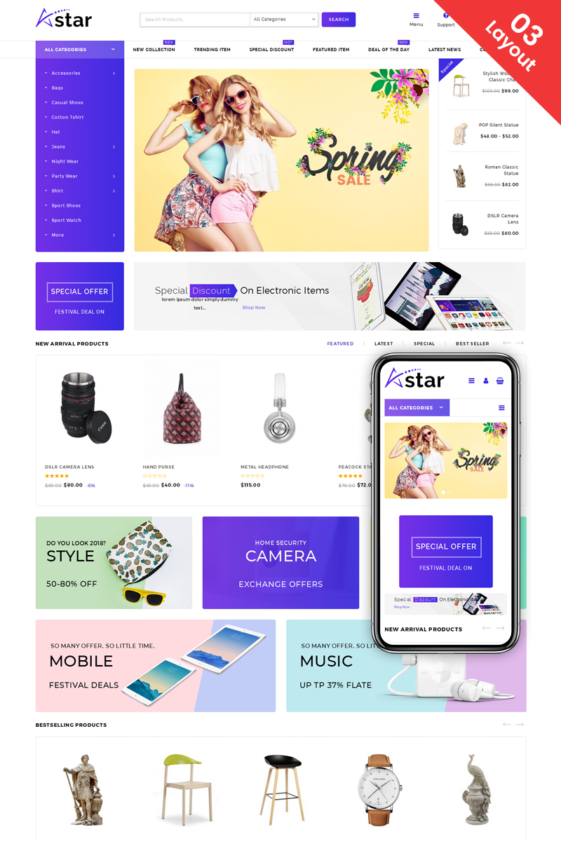 """A-Star - Multi Purpose Store"" thème WooCommerce adaptatif #69569"