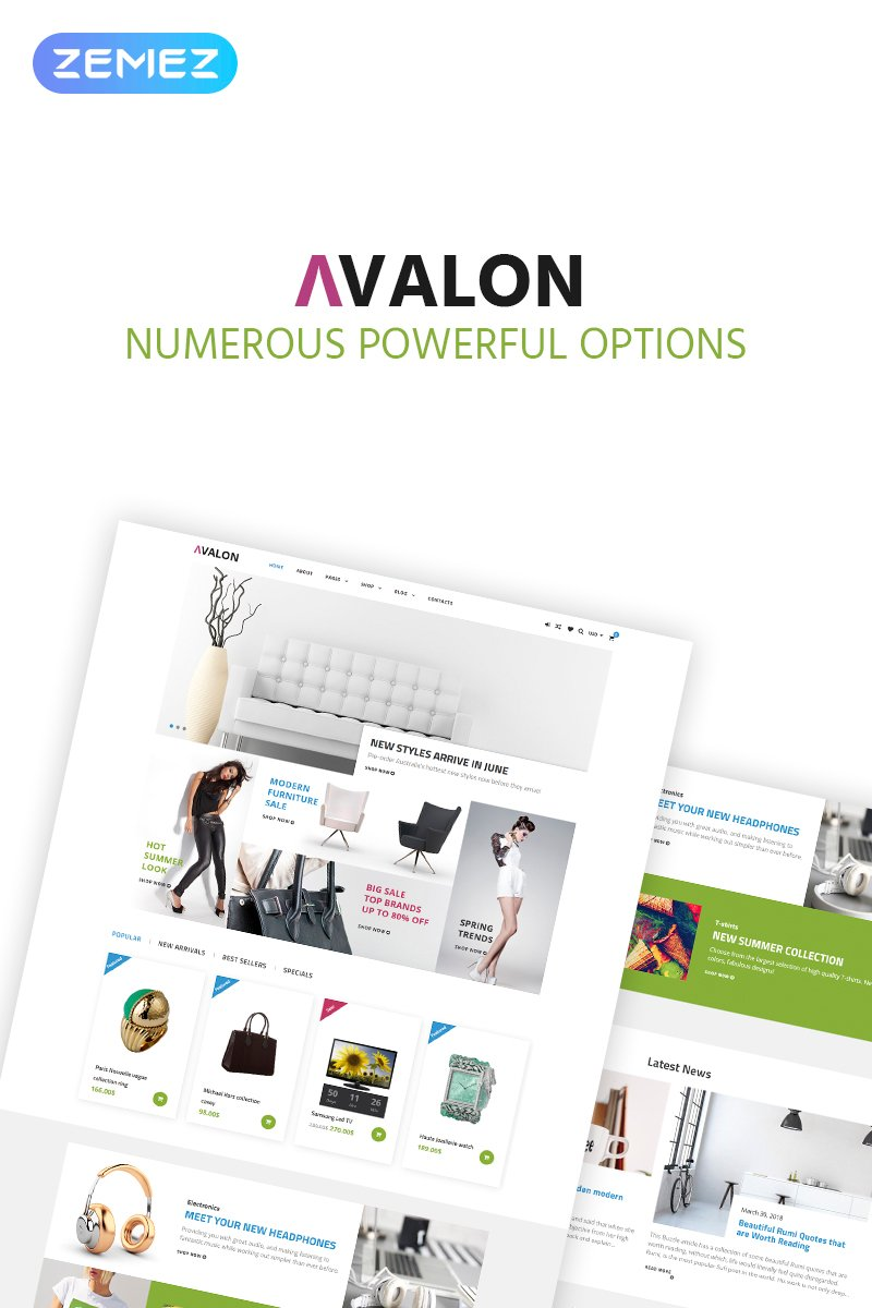 """Avalon - Furniture Store Elementor"" 响应式WooCommerce模板 #69574"