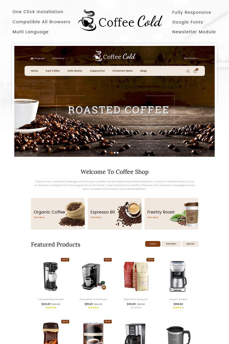 Cold Coffee Shop OpenCart Template - screenshot