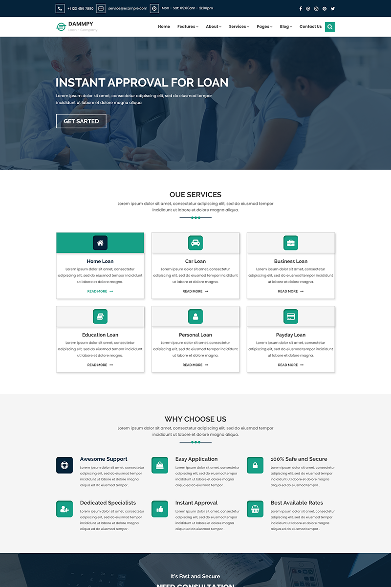 DAMMPY - Finance, Loan and Consulting PSD Template