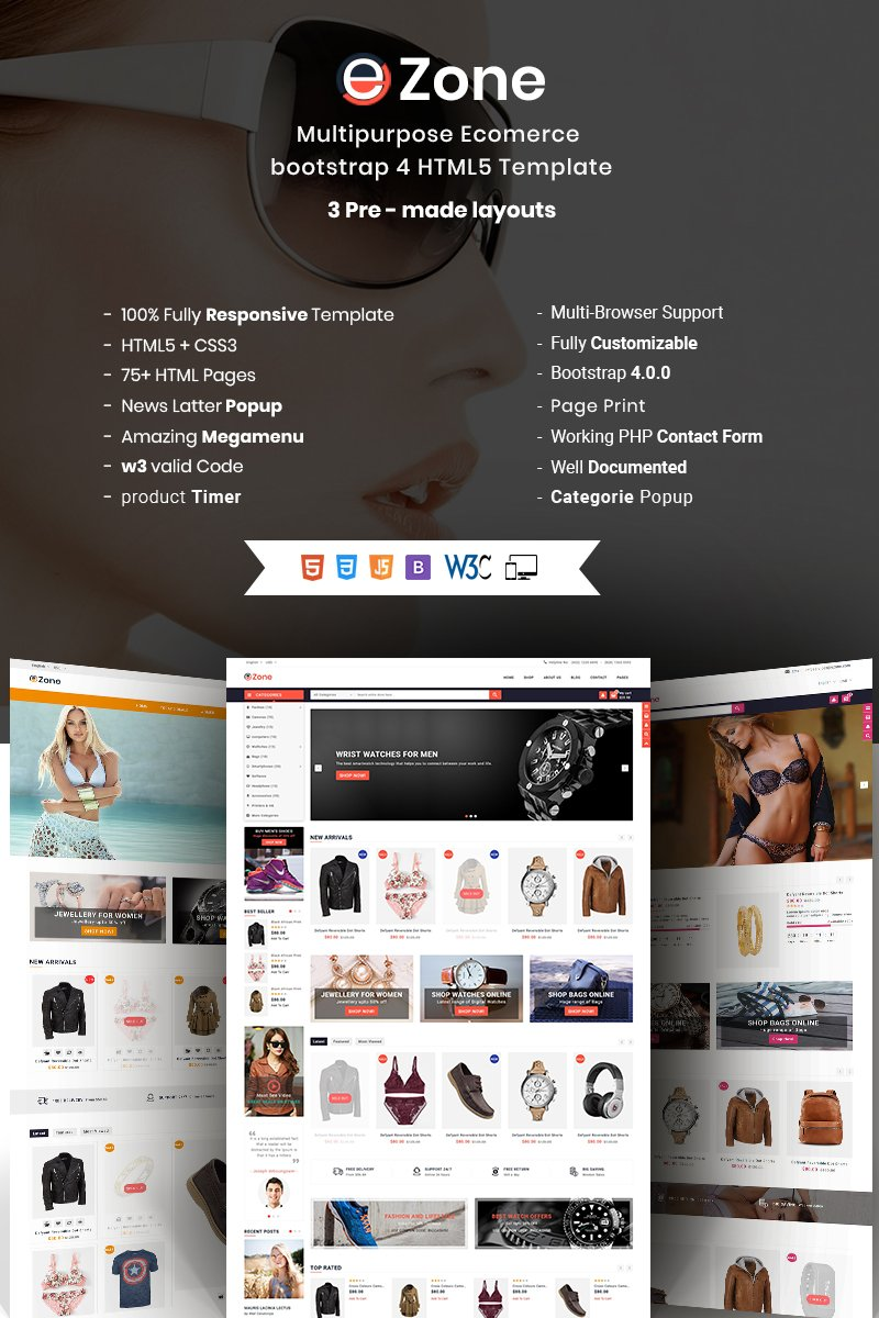 Ezone- Responsive Multipurpose E-Commerce Website Template