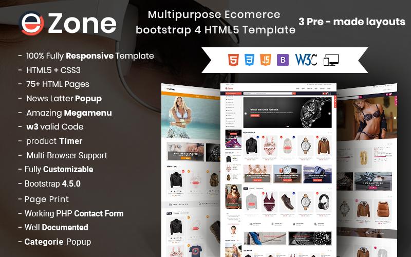 """Ezone- Responsive Multipurpose E-Commerce"" 响应式网页模板 #69595"
