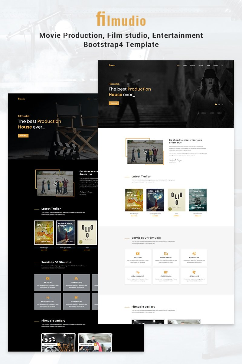 """Filmudio - Movie Production, Film Studio, Entertainment"" modèle web adaptatif #69542"