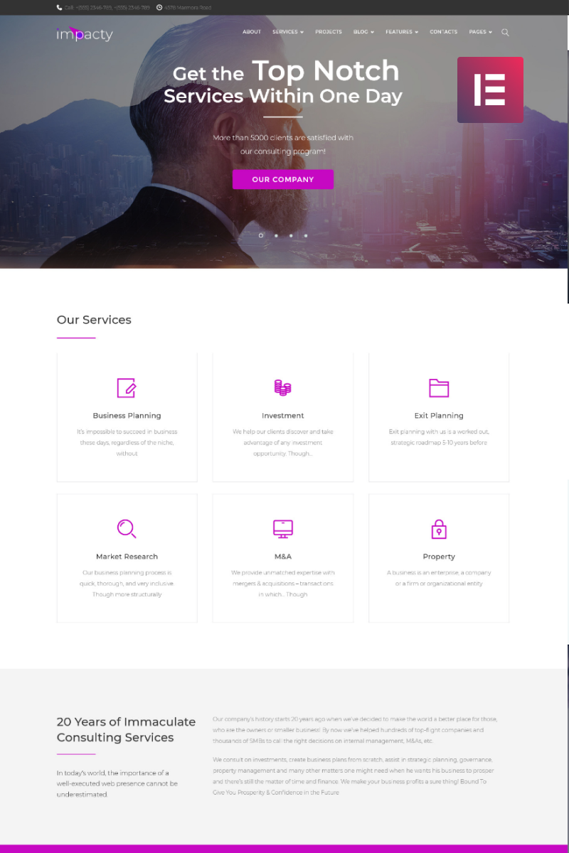 Impacty - Business Consulting Elementor WordPress Theme - screenshot