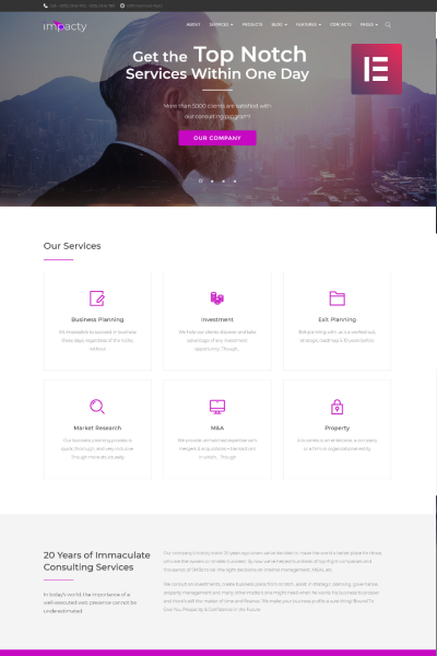 Impacty- Business Consulting Elementor WordPress Theme #69561