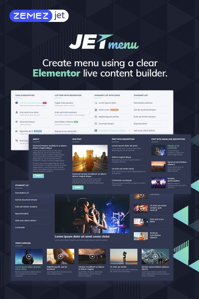 """JetMenu - Mega Menu pour Elementor Page Builder"" wordPress Plugin  #69509"