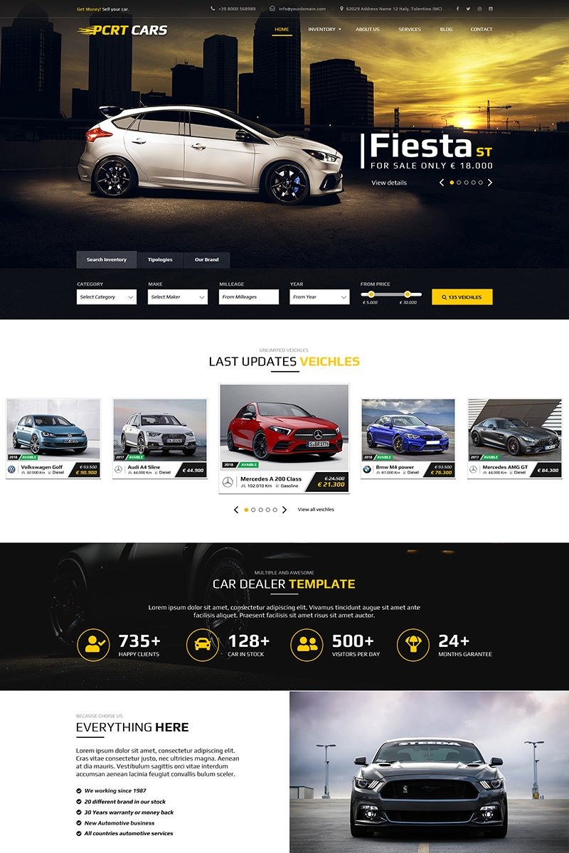 """Pcrt Cars - Automotive Car Dealer"" Bootstrap PSD Template №69566"