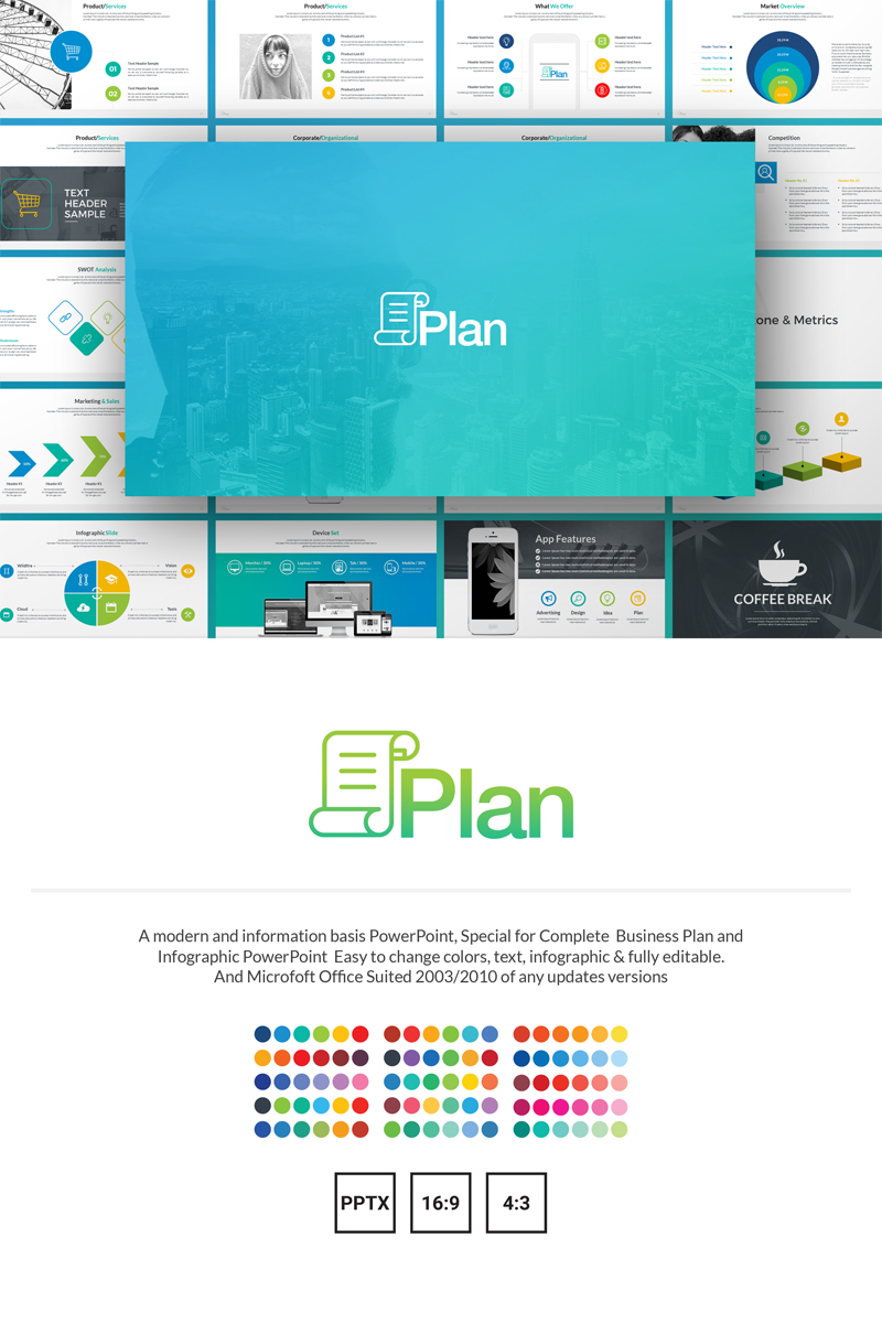 Plan - Business Plan & Infographic PowerPoint sablon 69570