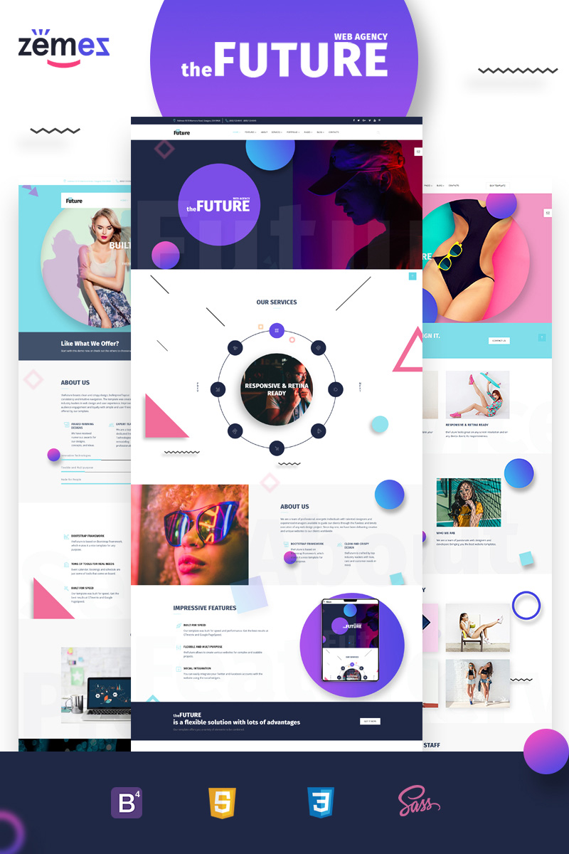 Responsive The Future - Web Design Multipurpose HTML5 Web Sitesi #69536