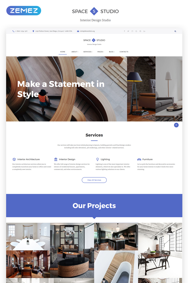 """Space Studio - Interior Design Multipage HTML5"" Responsive Website template №69593"