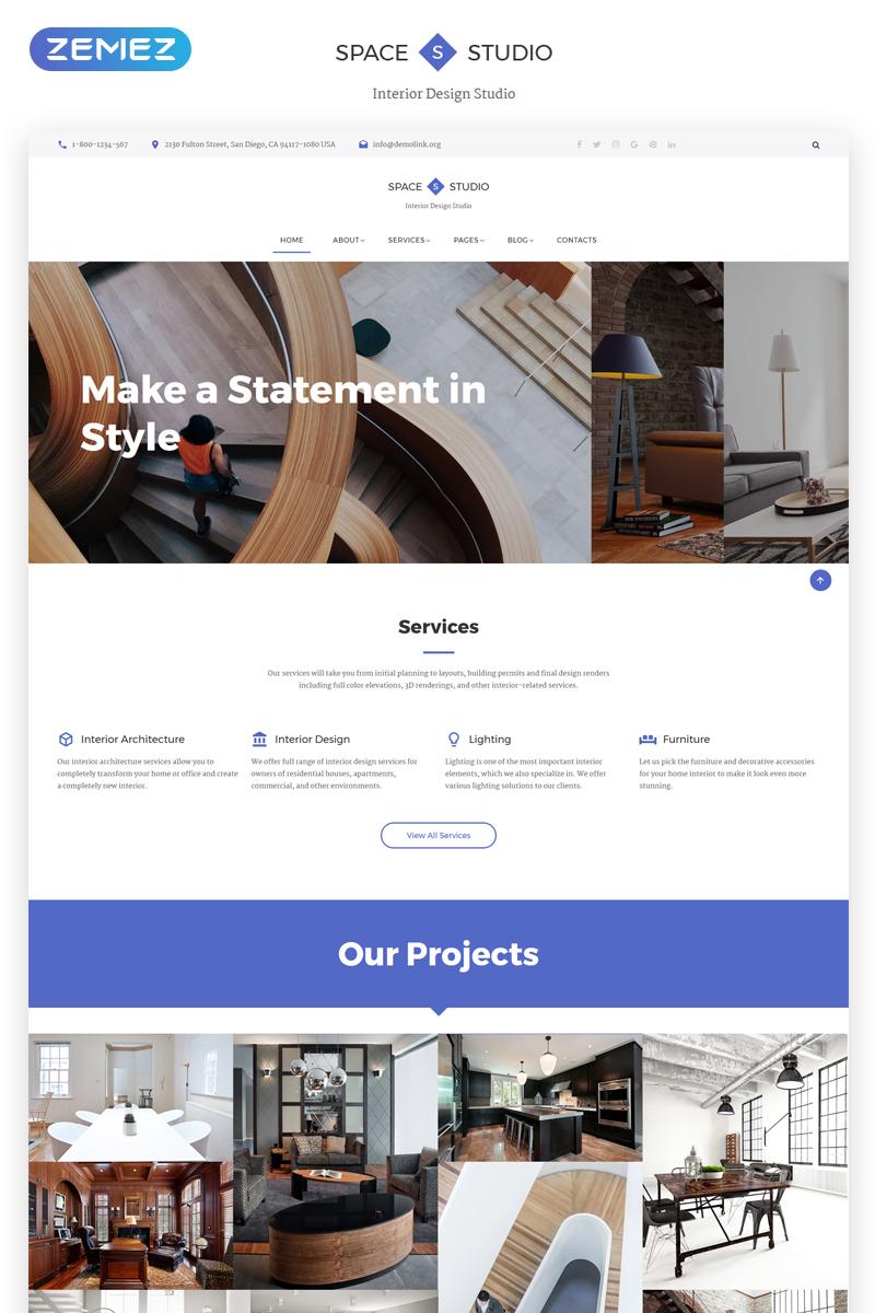 """Space Studio - Interior Design Multipage HTML5"" 响应式网页模板 #69593"