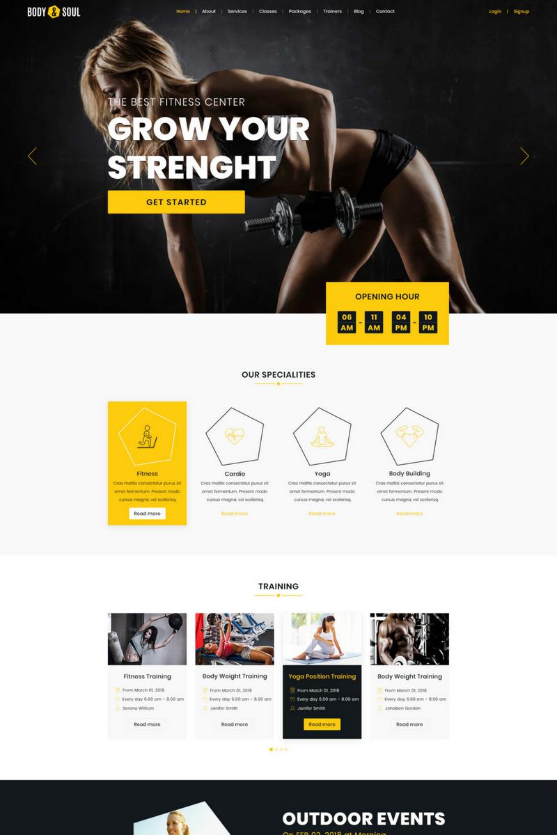 Szablon PSD Body & Soul - Gym & Fitness #69538