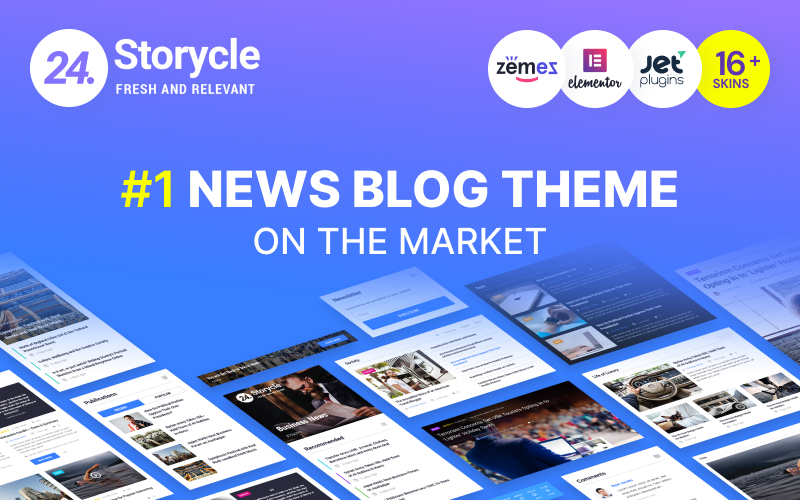 "Tema De WordPress ""24.Storycle - Multipurpose News Portal Elementor"" #69580 - captura de pantalla"
