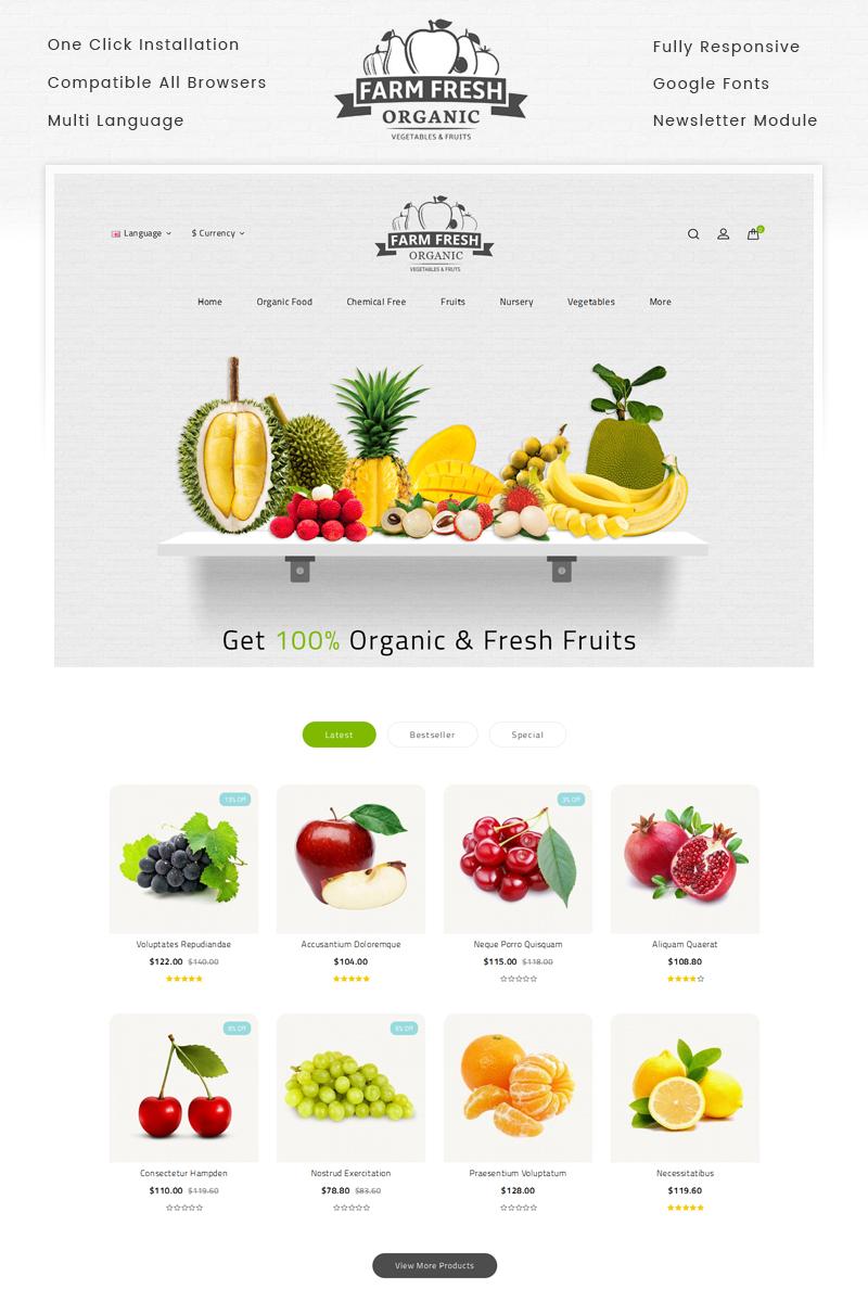 """Tema OpenCart Responsive #69543 """"Fresh Organic Store"""""""
