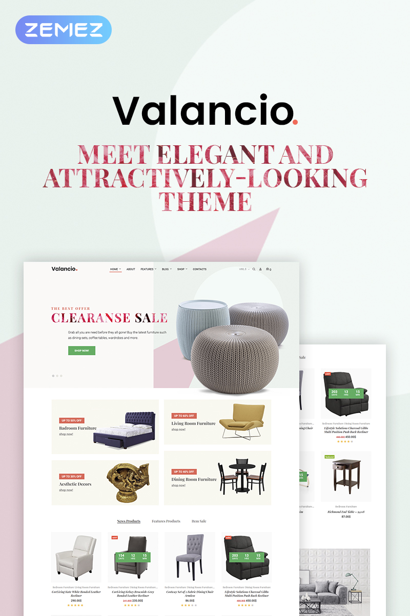 "Tema WooCommerce ""Valancio - Home Decor Elementor"" #69520 - captura de pantalla"