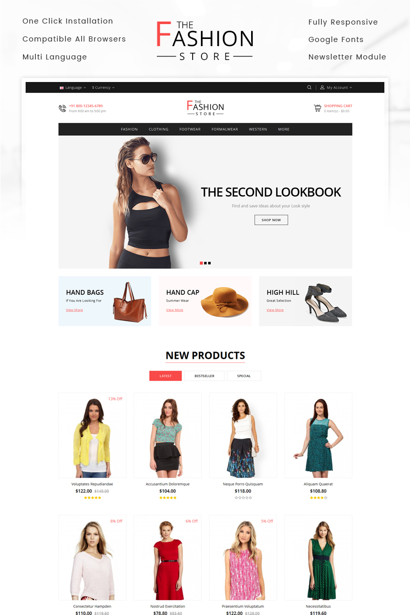 """The Fashion Store"" thème OpenCart adaptatif #69573"