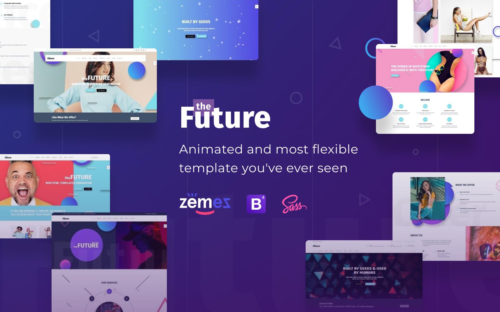 """The Future - Web Design Multipurpose HTML5 Website Template"" 响应式网页模板 #69536"