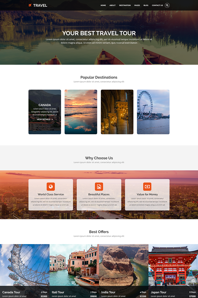 """""""TRAVEL - Tours and Travel"""" Responsive PSD Template №69530"""