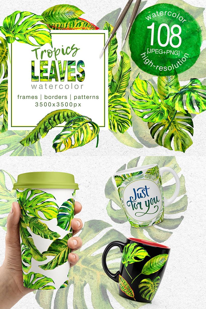 Tropics Leaves Monstera -  PNG Watercolor Illustration - screenshot
