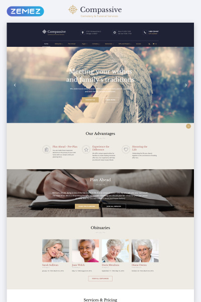Responsive Website Vorlage für Trauergottesdienst