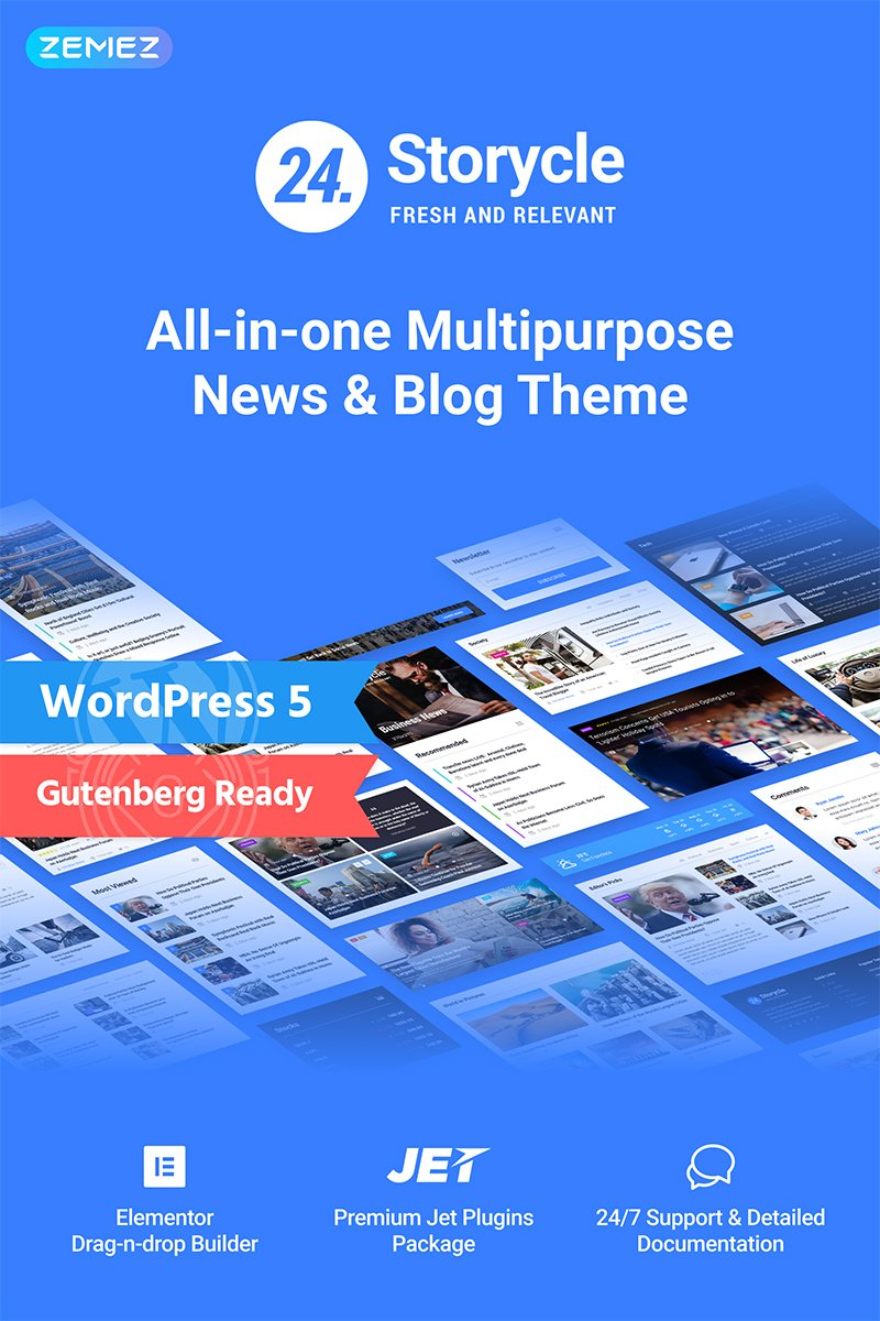 "WordPress Theme namens ""24.Storycle - Multipurpose News Portal Elementor"" #69580"