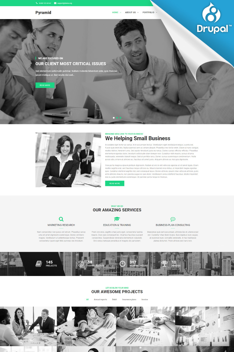 Website Design Template 69677 - responsive retinaready minimalistic customable bootstrap drupal8