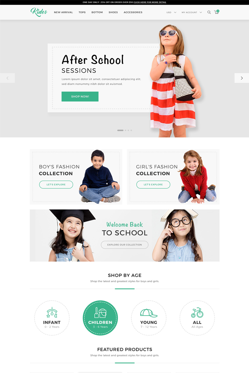 Website Template 69686 Kids Fashion Clothing Custom Website