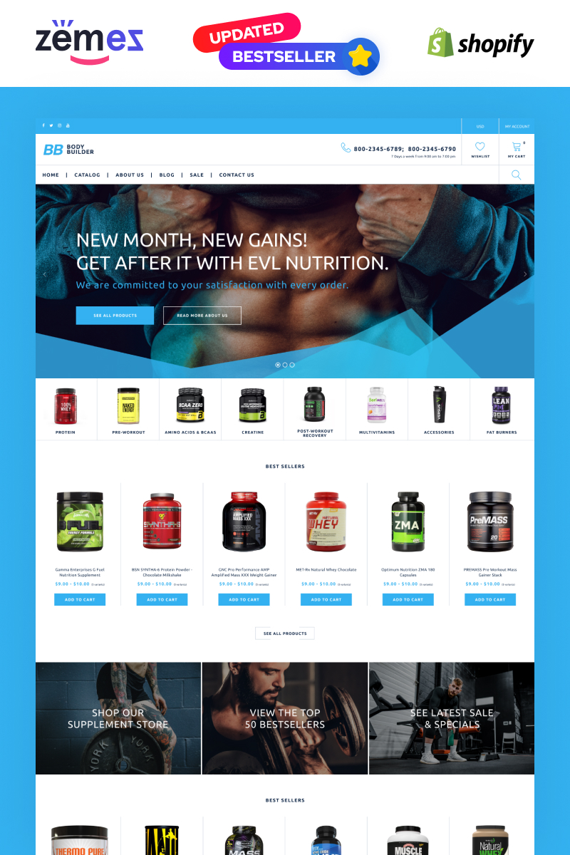 """""""Body Builder - Sports Nutrition eCommerce Template -"""" 响应式Shopify模板 #69649 - 截图"""