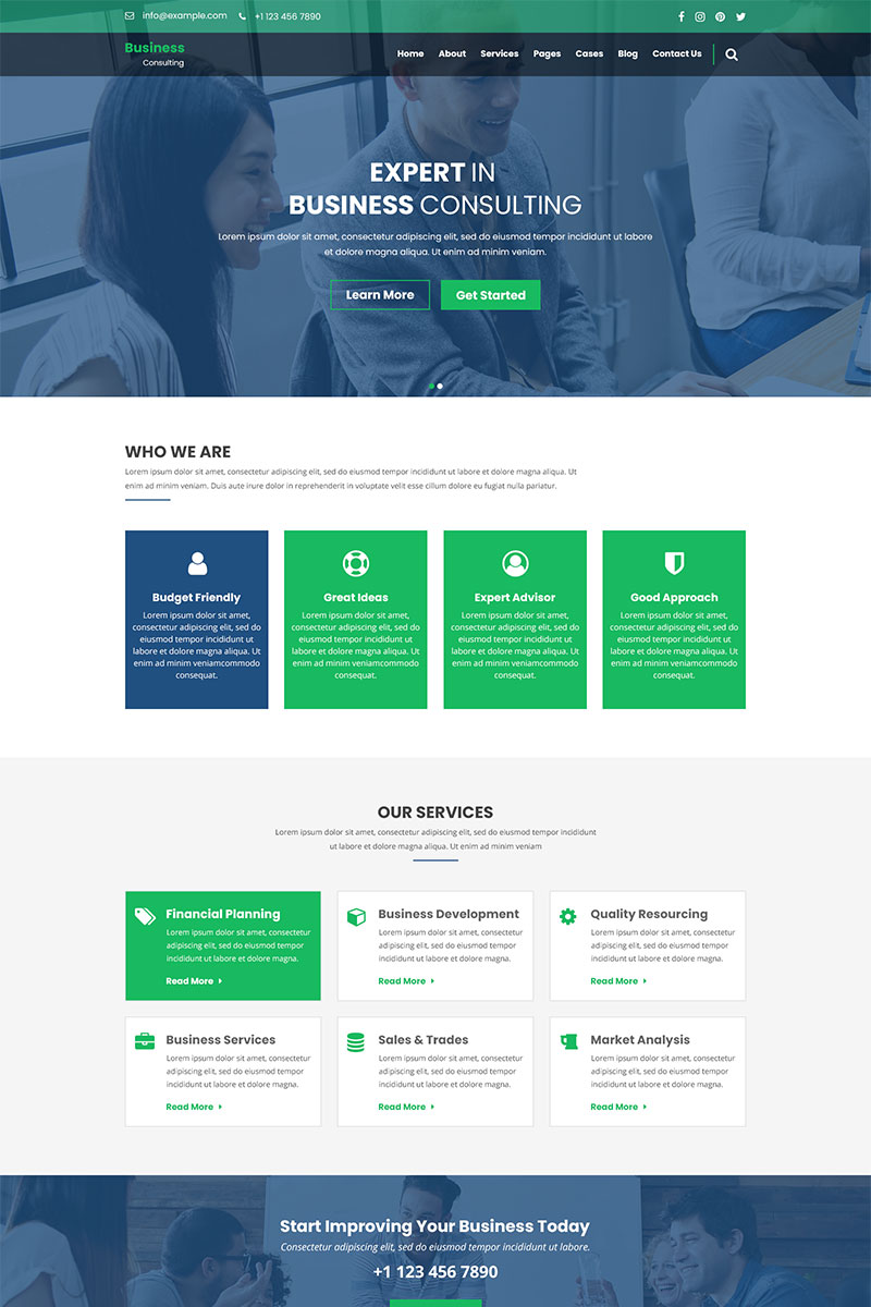 Business Consulting - Finance, Business & Consulting PSD Template