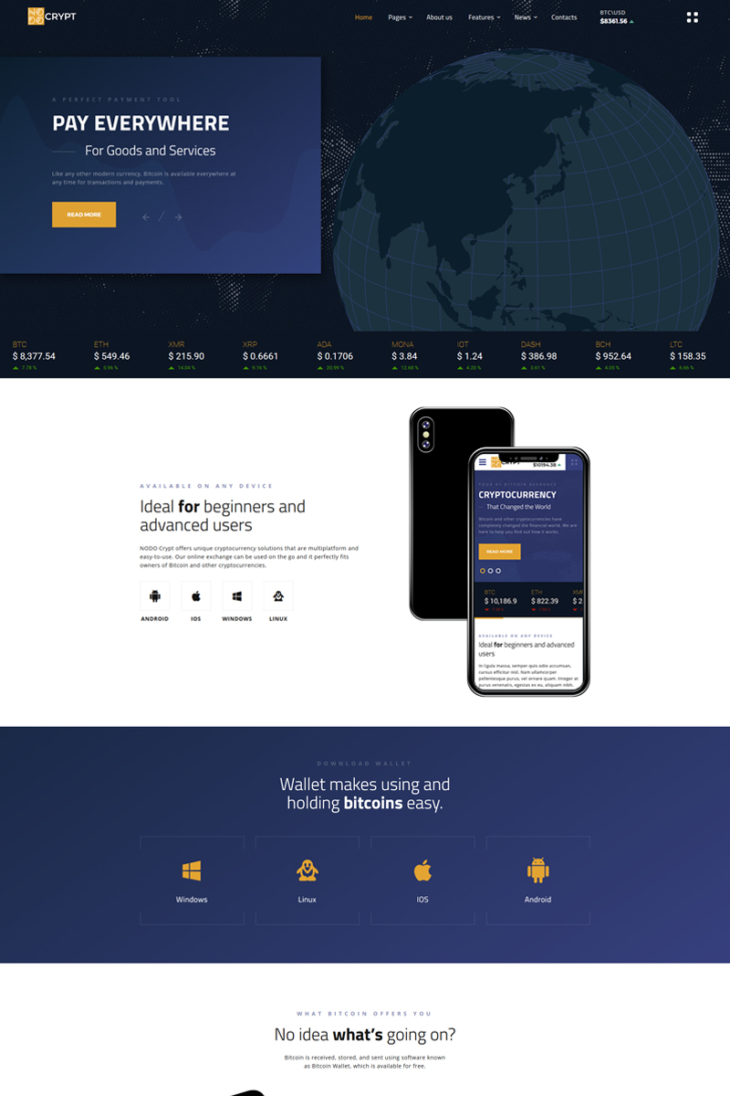 Crypt - Cryptocurrency Multipage HTML5 №69613