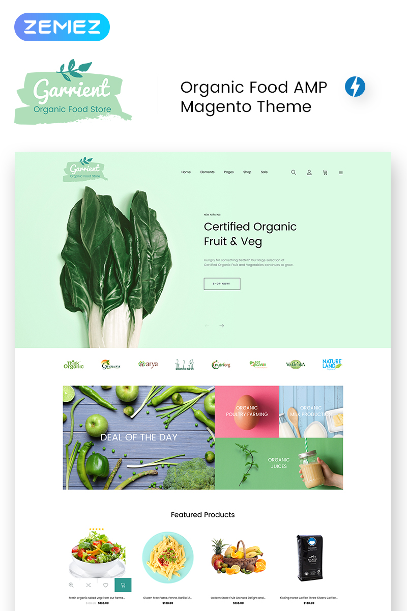 """Garrient Organic Food"" thème Magento adaptatif #69648"