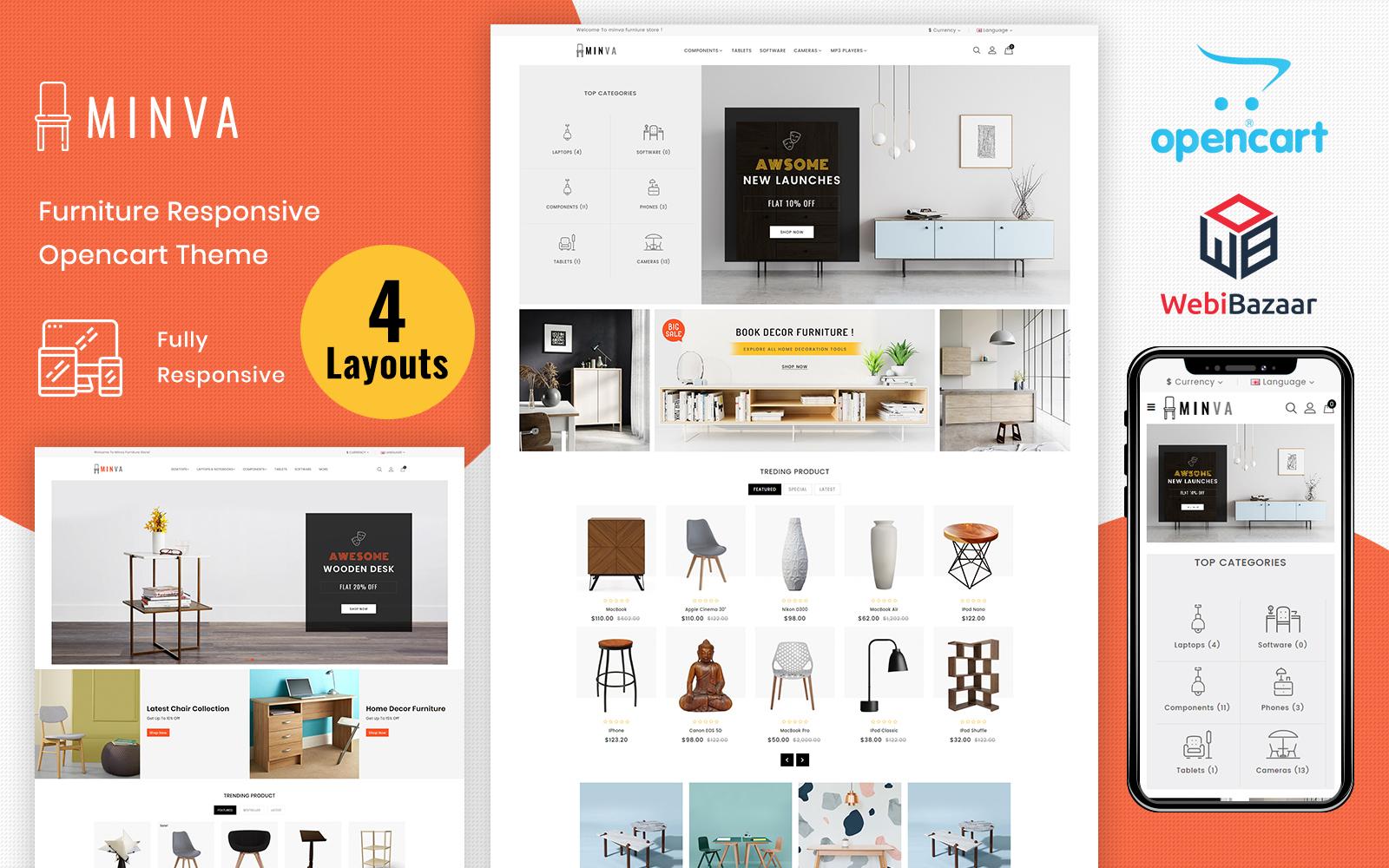 """Minva - Multipurpose Furniture Store"" - адаптивний OpenCart шаблон №69670"