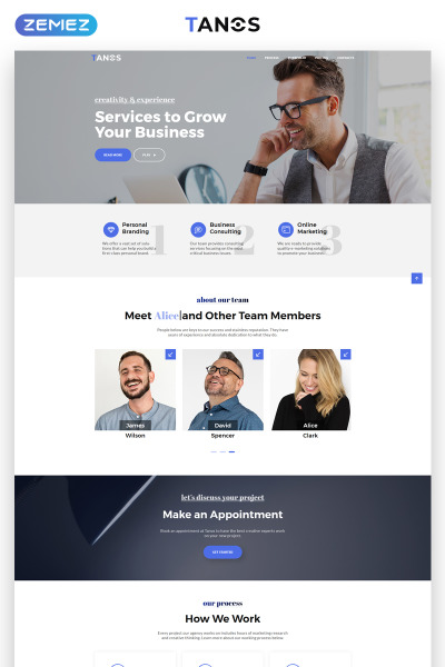 Responsives Landing Page Template für Beratung