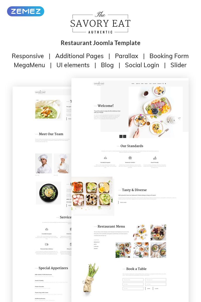 """Savory Eat - Delicious Restaurant & Cafe"" 响应式Joomla模板 #69690"