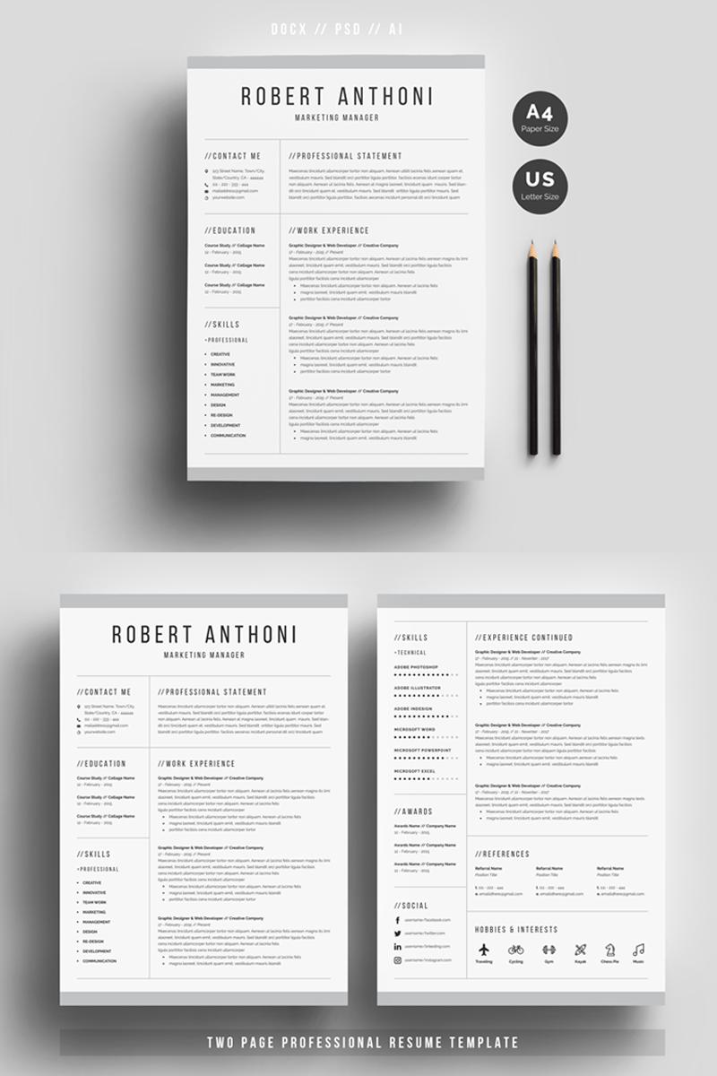 Szablon resume Robert Anthoni Clean #69612 - zrzut ekranu