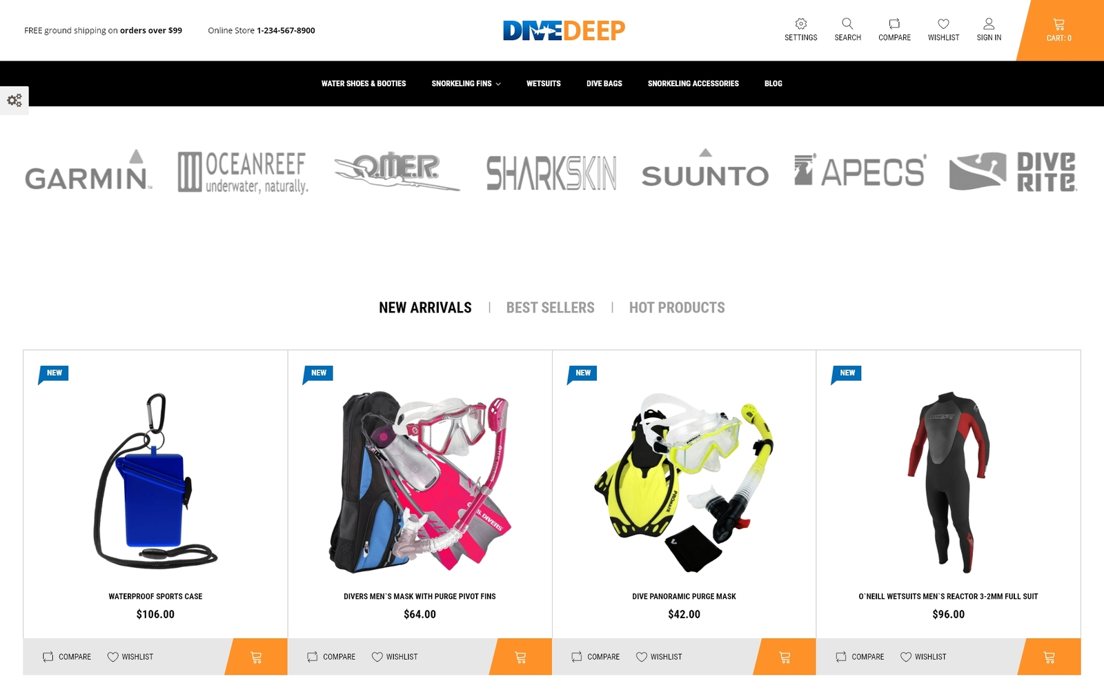 """DiveDeep - Snorkeling Equipment"" - адаптивний PrestaShop шаблон №69781"