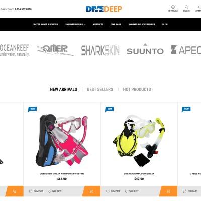 DiveDeep - szablon PrestaShop dla e-sklepu z sprzętem do snorkelingu #69781