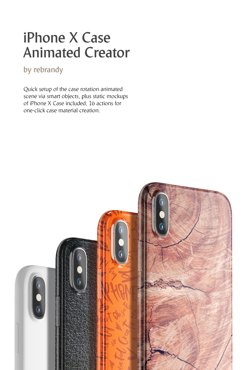 iPhone X Case Animated Creator Product Mockup