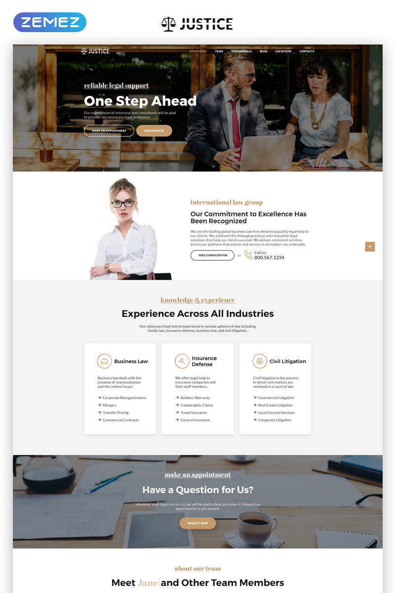 """Landing Page Template namens """"Justice - Attorney Agency HTML5"""" #69706"""
