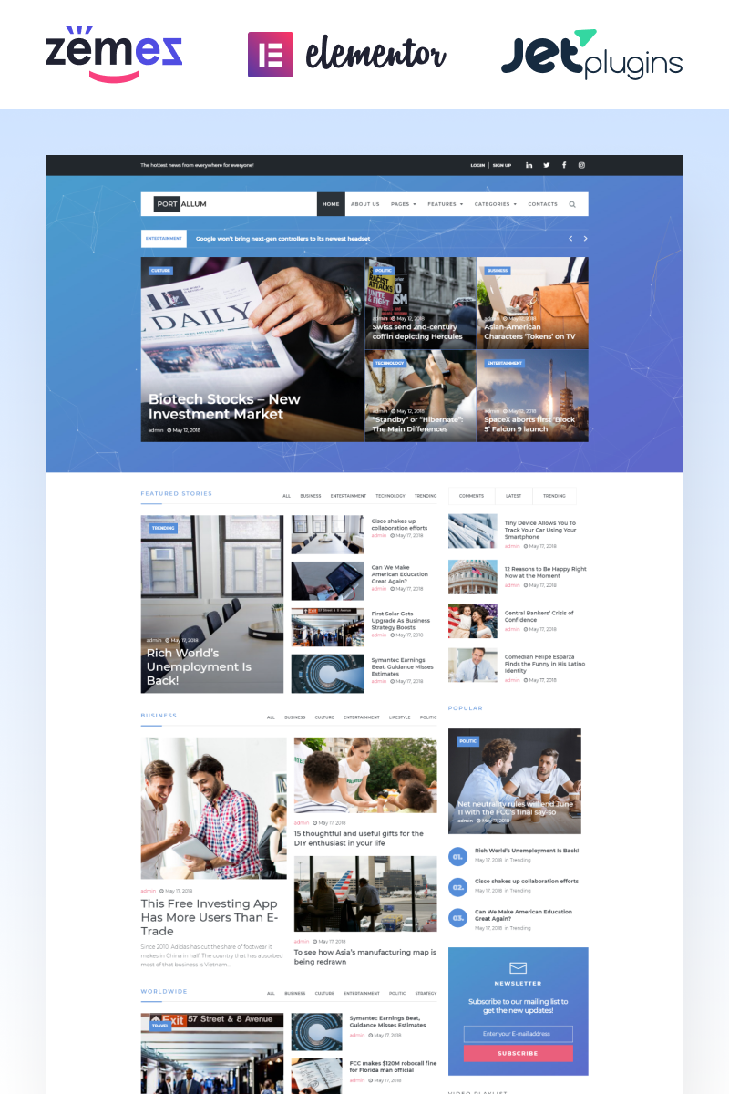 Portallum - Blog Page Elementor WordPress Theme