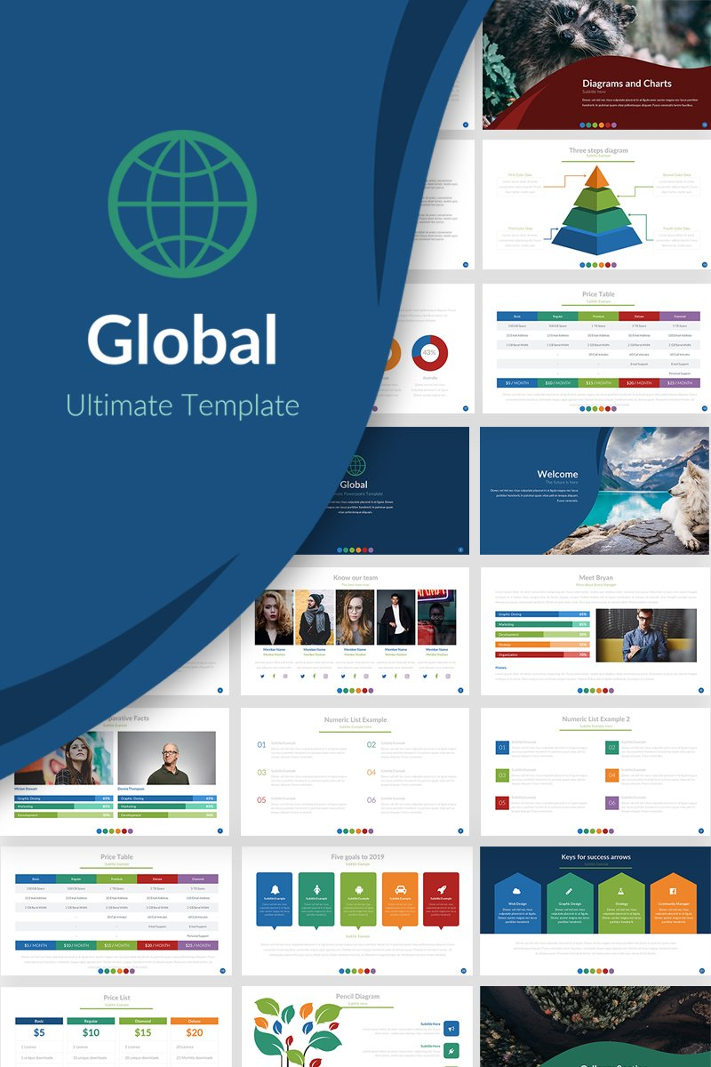 Prémium Global Presentation PowerPoint sablon 69775