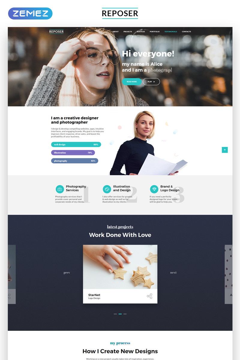 Reposer - Eye-Catching Portfolio HTML Landing Page Template