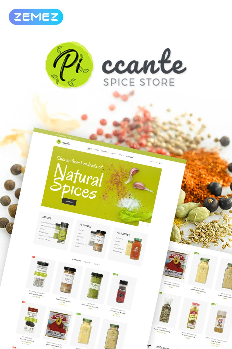 "Tema WooCommerce ""Piccante - Spices Store Elementor"" #69742"
