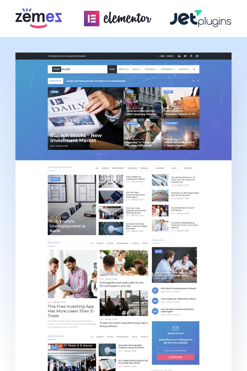 "Tema WordPress Responsive #69717 ""Portallum - Modern Blog Page"""