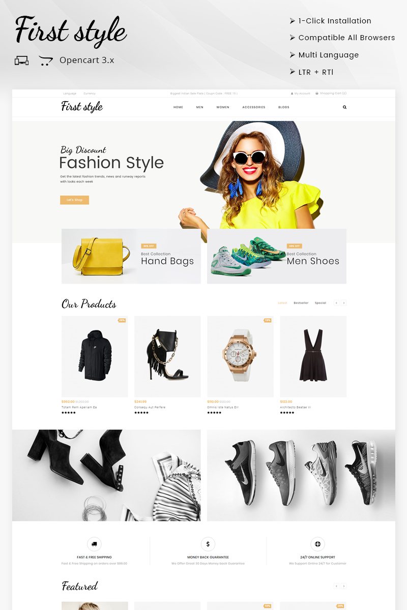 Website Design Template 69864 - rtl apparel shopping testimonial blog newsletter